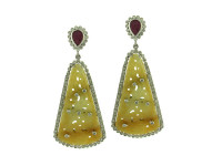Yellow Jade, Ruby & 2.60 ct Diamond Earring