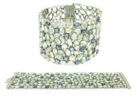 White/Blue Sapphire & 1.43 ct Diamond In 18K WG Bracelet