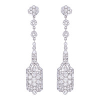 ART DECO Dangle 4 CT Diamond Earrings 18K White Gold