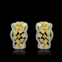 4.67 Carat Scalloped Yellow Diamond Earrings SEE10683Y