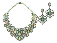 19.15 ct Diamond & Opal Earring/Necklace Set