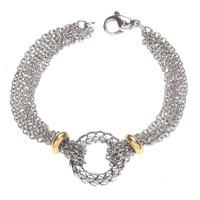 18Kt/Sterling Silver Multi Strand Row Bracelet