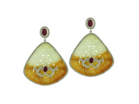 18K Gold, Jade, Ruby & 2.36 ct Diamond Earring