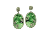 18K Gold, Green Jade & 2.04 ct Diamond Oval Earring