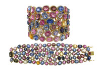 18K Gold Multi Color Sapphire & 12.63 ct Diamond Bracelet