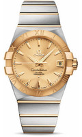 Omega Constellation SS & 18K Yellow Gold Champagne Dial Watch 123.20.38.21.08.001