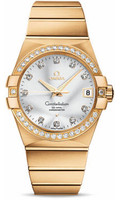 Omega Constellation 18K Brushed Yellow Gold Silver Dial Diamond Watch 123.55.38.21.52.002