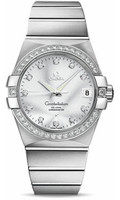 Omega Constellation 18K Brushed WG Silver Dial Diamond Watch 123.55.38.21.52.003