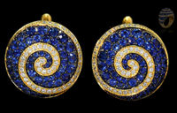 Mousson Atelier Spiral Collection Gold Sapphire & Diamond Earrings E0062-0/4