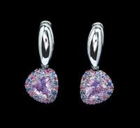 Mousson Atelier Riviera Gold Lavender Quartz & Sapphire Earrings E0073-0/26