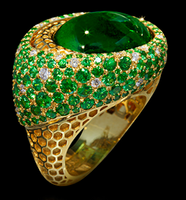 "Mousson Atelier New Age ""Honeycombs"" Gold Tourmaline & Tsavorite Ring R0052-0/4"