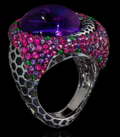 "Mousson Atelier New Age ""Honeycombs"" Gold Amethyst & Sapphire Ring R0052-0/5"