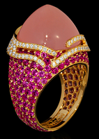 "Mousson Atelier New Age ""Fuji"" Gold Pink Quartz & Sapphire Ring R0053-0/2"
