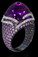 "Mousson Atelier New Age ""Fuji"" Gold Amethyst & Sapphire Ring R0053-0/5"