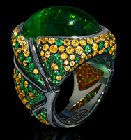 "Mousson Atelier New Age ""Caterpillar"" Gold Tourmaline Ring R0057-0/1"
