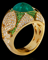 """Mousson Atelier Hi Jewellery Collection """"1000&1 Night"""" Gold Emerald & Diamond Ring R0024-0/7"""