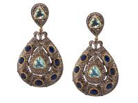 Aquamarine, Kyanite & 9.85 ct Diamond Earrings