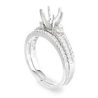 Pave Two Piece Diamond Engagement Ring Set P15-4
