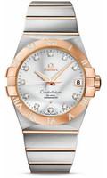Omega Constellation SS & 18K RG Silver Dial Diamond Watch 123.25.38.21.52.003