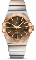 Omega Constellation SS & 18K RG Brown Dial Watch 123.20.38.21.13.001
