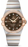 Omega Constellation SS & 18K RG Brown Dial Diamond Watch 123.25.38.21.63.001