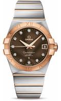 Omega Constellation SS & 18K RG Brown Dial Diamond Watch 123.20.38.21.63.001