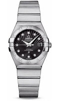 Omega Constellation Brushed SS Black Dial Ladies Diamond Watch 123.10.27.20.51.001