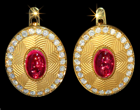 Mousson Atelier Tweed Collection Gold Rose Tourmaline & Diamond Earrings E0084-0/2
