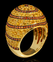 Mousson Atelier Spiral Collection Gold Yellow & Orange Sapphire Ring R0062-0/14