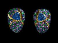 Mousson Atelier Riviera Gold Topaz, Sapphire & Tsavorite Earrings E0073-3/1