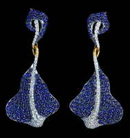 Mousson Atelier Ocean Collection Gold Sapphire & Diamond Earrings E0059-0/1