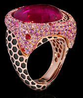 "Mousson Atelier New Age ""Honeycombs"" Gold Tourmaline Ring R0052-0/7"
