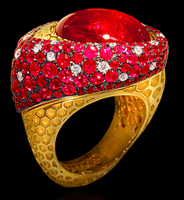 """Mousson Atelier New Age """"Honeycombs"""" Gold Tourmaline Ring R0052-0/3"""