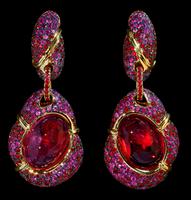 "Mousson Atelier New Age ""Caterpillar"" Gold Tourmaline Earrings E0057-0/1"