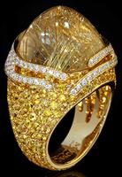 "Mousson Atelier New Age ""Fuji"" Gold Rutile Quartz & Sapphire Ring R0053-0/16"
