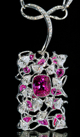 "Mousson Atelier Hi Jewellery Collection ""Cherry Garden"" Gold Pink Sapphire & Diamond Necklace N0026-0/1"