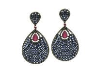 Sapphire, Ruby & 2.23 ct Diamond Pear-Shaped Earring