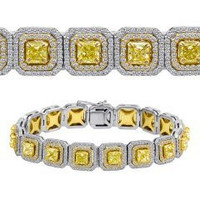 12.75 Ct Fancy Yellow & White Diamond Bracelet