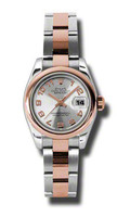Rolex- Datejust Lady Steel & Pink Gold Domed Bezel Oyster 179161SCAO