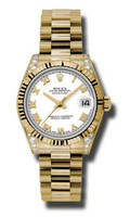 Rolex- Datejust 31mm President YG Fluted Bezel Dia Case 178238WRP