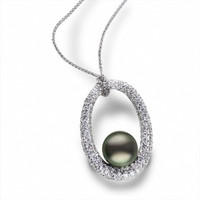 Imperial Tahitian Pearl & Dia Oval Pendant 986351/BWH18W-1