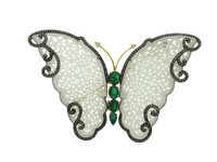 Jade, Emerald & 2.88 ct Diamond Buttefly-Shaped Brooch