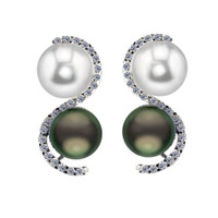 Imperial White Freshwater Cultured Pearl & Tahitian Cultured Pearl Earrings CSWE001/BFW