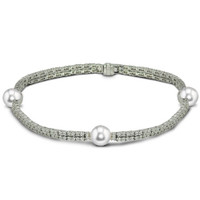 Imperial Gold Crown Akoya Pearls & Diamonds Bracelet CSB024/WH