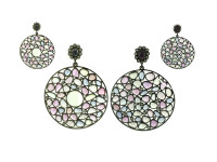 Unheated Multi Color Sapphire & 1.52 ct Diamond Round-Shaped Earring