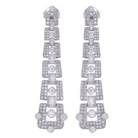 ART DECO DIAMOND EARRINGS 18K WHITE GOLD