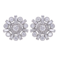 ART DECO 2.08 CT DIAMOND EARRINGS 18K WHITE GOLD