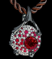 "Mousson Atelier Cosmos Collection Pendant ""UFO"" Tourmaline 2.57 ct Ruby P0038-0/2"