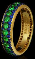 Mousson Atelier Dorojka Collection Gold Tsavorite & Sapphire Ring R0103-0/32