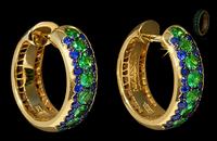 Mousson Atelier Dorojka Collection Gold Tsavorite & Sapphire Earrings E0103-0/5